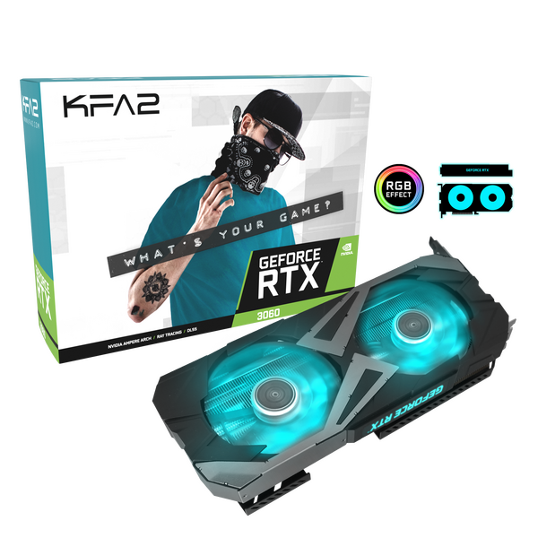 KFA2  GeForce RTX™ 3060 EX (1-Click OC) 12GB GDDR6 PCI-Express Graphics Card - * Maximum 1 card per household *