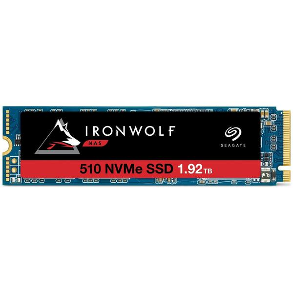 Seagate  1920GB IronWolf 510 M.2 NVMe SSD, Built for NAS, M.2 2280, PCIe 3.0, TLC 3D NAND, R/W 3150/850 MB/s, 290K/27K IOPS