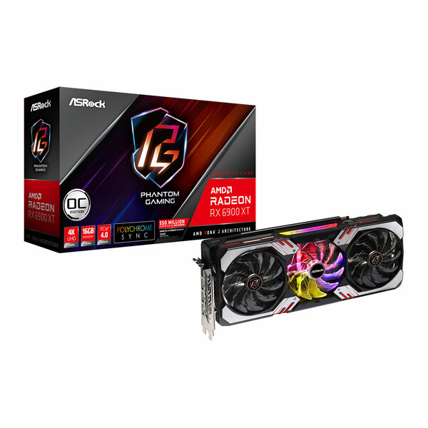 ASROCK AMD Radeon RX 6900 XT 16G Radeon RX 6900 XT Phantom Gaming OC 16GB GDDR6 Ray-Tracing Card, RDNA2, 5120 Streams, 1925MHz GPU, 2340MHz Boost