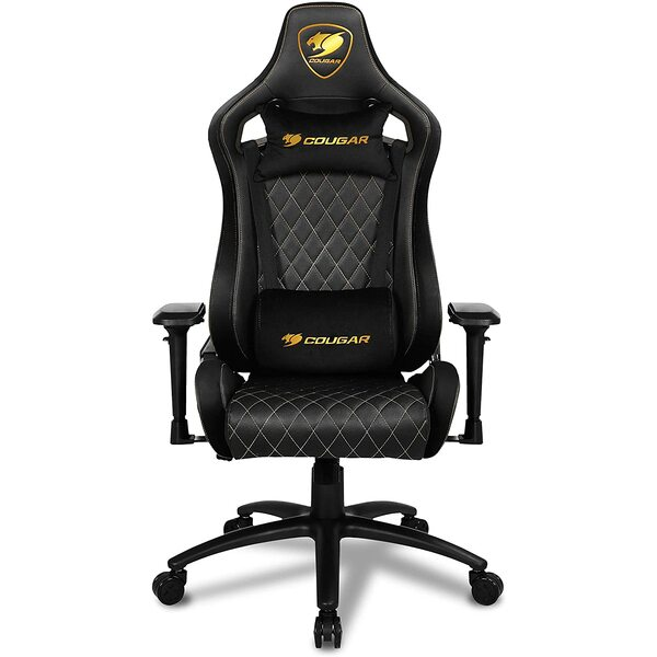 Cougar  Armor S Royal Gaming Chair with Reclining and Height Adjustment (Black with Gold Stitching