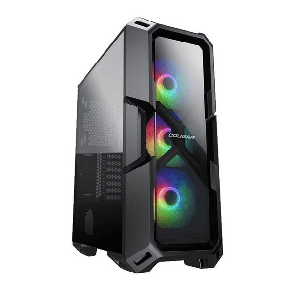 Cougar  Glass Fronted RGB Gaming Case - Black Tempered Glass Window, 3x RGB Fans